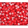 Glass Bead White Hearts 4/0 Red
